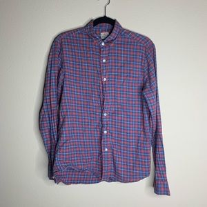 Faherty blue and red plaid button down shirt